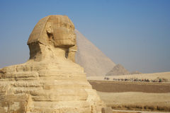 Ancient sphinx and pyramid in Egypt Stock Images