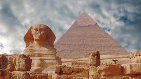 Ancient sphinx and pyramids, symbol of Egypt.  stock video