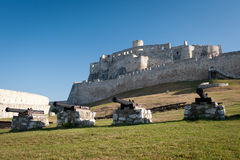Ancient Spis castle from inside, Slovakia. Four cannons in lower courtyard of Spis castle, Slovakia stock images