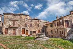 Ancient square in Castiglione d'Orcia, Siena, Tuscany, Italy Stock Photo