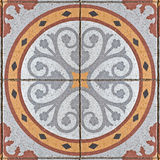 Ancient square paving tile Stock Image