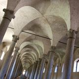 Ancient stables in the castle. Ancient stables built in Vigevano after a project by Leonardo da Vinci Royalty Free Stock Images