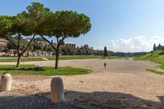 Ancient stadium Circus Maximus with blue sky and clouds, Rome royalty free stock photos