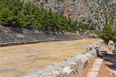 Ancient stadium at Delfi in Greece Royalty Free Stock Photos