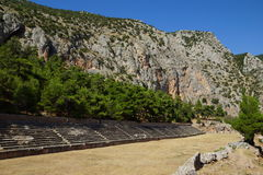 The ancient stadium, Delphi, Greece. The ancient stadium at Delphi, Greece could seat 6500 spectators and the track was 177 metres long and 25.5 metres wide stock photo