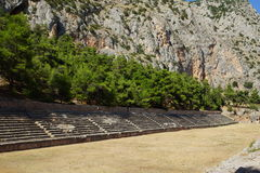 The ancient stadium, Delphi, Greece. The ancient stadium at Delphi, Greece could seat 6500 spectators and the track was 177 metres long and 25.5 metres wide Royalty Free Stock Photo