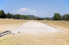 Ancient stadium in Olympia for Olympic Games stock photos