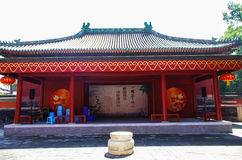 Ancient stage. China Beijing Temple of God of Mount Tai  Red House Ancient stage  Raise the Red Lantern Stock Photo
