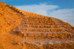 Ancient staircase on the mountain slope Royalty Free Stock Images