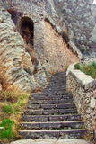 An ancient staircase in the mountains, steps of stone. Fortress of Palamidi. Greece, Nafplio city on the Peloponnese Peninsula Royalty Free Stock Image