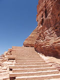 Ancient stairs. Built in the rocks of Petra, Jordan royalty free stock image