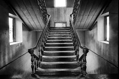 Ancient stairs Colonial style in abandoned house Stock Image