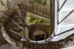 Ancient stairs inside an old French fortress - France Royalty Free Stock Photo