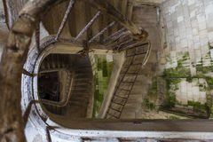 Ancient stairs inside an old French fortress - France Stock Image