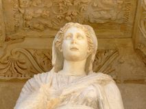Ancient statue. The ancient greek statue in the ephesus celsus library about BC Stock Image