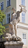 An ancient statue of Amphitrite. In the central square of Lviv - Market (Rynok) Square near City Hall. Lviv - city in western Ukraine, capital of historical stock image