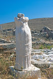 The ancient statue of Artemis in white marble on Delos island Stock Images