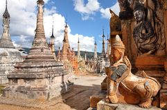 Ancient statue and bas-reliefs, Myanmar Stock Images