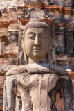 Ancient statue of Buddha in a ruin of buddhist brick temple Royalty Free Stock Photography