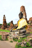 Ancient statue of buddha in wat mahathat temple Royalty Free Stock Photography