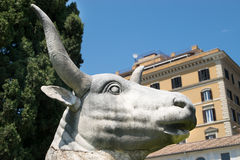 Ancient statue of Bull in baths of Diocletian Thermae Diocletiani in Rome. Italy royalty free stock photos