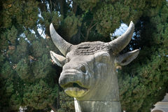 Ancient statue of Bull in baths of Diocletian Thermae Diocletiani in Rome. Italy stock photography