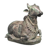 Ancient statue of a bull isolated. Royalty Free Stock Photos