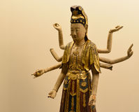 Hindu God. Ancient statue of a eight armed Hindu goddess stock images