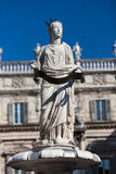 Ancient Statue of Fountain Madonna Verona on Piazza delle Erbe, Italy Royalty Free Stock Images