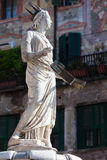 Ancient Statue of Fountain Madonna Verona on Piazza delle Erbe, Italy Stock Images
