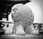 Ancient statue of lion. In Gyongbokugung Palace of Seoul, South Korea Stock Photos