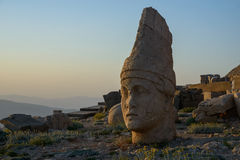 Ancient statue  - Mount Nemrut. Apollo head illuminated with evening sun. West Terrace of Nemrut Dag (Turkey Stock Photos