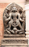 Ancient statue of Narasimha in Bhaktapur, Kathmandu valley, Nepal. Ancient stone statue of Narasimha, Lion-headed God, an avatar of Vishnu, in Bhaktapur royalty free stock images