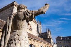 Ancient statue in Roman baths, Bath, UK. Ancient statue in Roman baths, Bath, Somerset, United Kingdom Stock Photo
