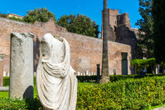 Ancient statue. The ruins of the Baths of Diocletian in Rome Royalty Free Stock Photos