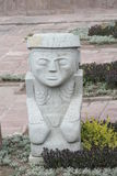 Ancient statue from Tiwanaku inca archaeological site Royalty Free Stock Photos