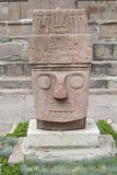 Ancient statue from Tiwanaku inca archaeological site Stock Image