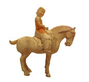 Ancient statue of woman on horse isolated Royalty Free Stock Photo