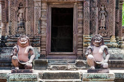 Ancient statues in Banteay Srei temple Stock Photos