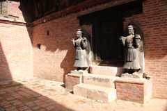 Ancient statues in Bhaktapur Durbar Square, Nepal Royalty Free Stock Photos