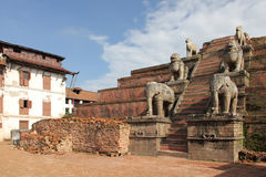 Ancient statues in Bhaktapur Durbar Square, Nepal Stock Photo