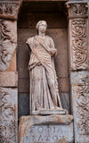 Ancient statues in Ephesus. This image was taken in Ephesus, Turkey. An ancient city of Turkey, there are many destroyed statues and ruins there with very Royalty Free Stock Photography