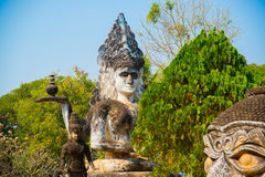 Ancient statues and sculptures of hindu and buddhism gods in Buddha Park, Vientiane, Laos Stock Photography