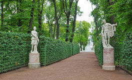 Ancient statues in the Summer Gardens park in Saint-Petersburg Stock Photography