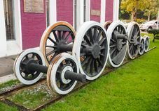 Ancient steam engine Classic train. Wheel of ancient steam engine Classic train Royalty Free Stock Photo