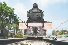 The ancient steam engine locomotive world war II train at Kanchanaburi, Thailand near river Kwai bridge Stock Images