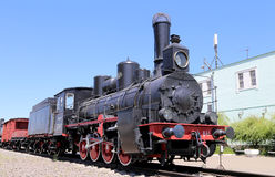 Ancient steam locomotive, Moscow museum of railway in Russia, Rizhsky railway station Royalty Free Stock Image