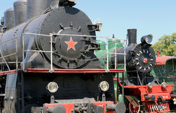 Ancient steam locomotive, Moscow museum of railway in Russia, Rizhsky railway station Stock Images