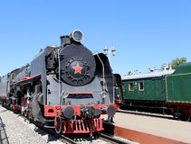 Ancient steam locomotive, Moscow museum of railway in Russia, Rizhsky railway station Stock Image