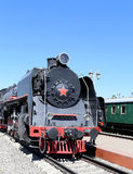 Ancient steam locomotive, Moscow museum of railway in Russia, Rizhsky railway station Stock Photos